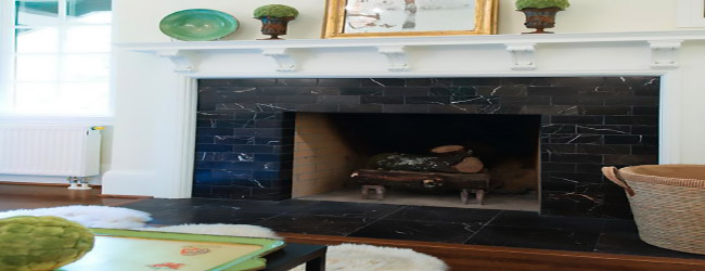 Even use granite remnants for modern fireplace design