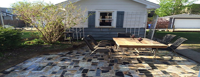 use granite remnants for a rustic patio design