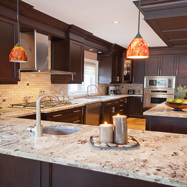 Changing Countertops In Kitchen: Wood Cabinets: Which Granite Colors Will Match Them Best