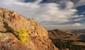 Bright green lichen grows on a red granite rock face overlooking the foothills of Colorado's front range.