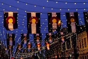 Colorado Flags Hanging in Denver