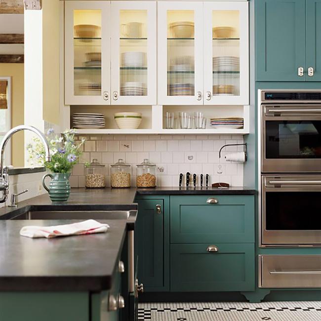 Blue-Green Kitchen Cabinets