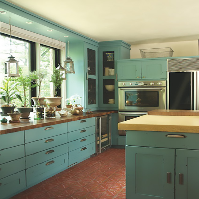 Bohemian Teal-ish Kitchen Cabinets