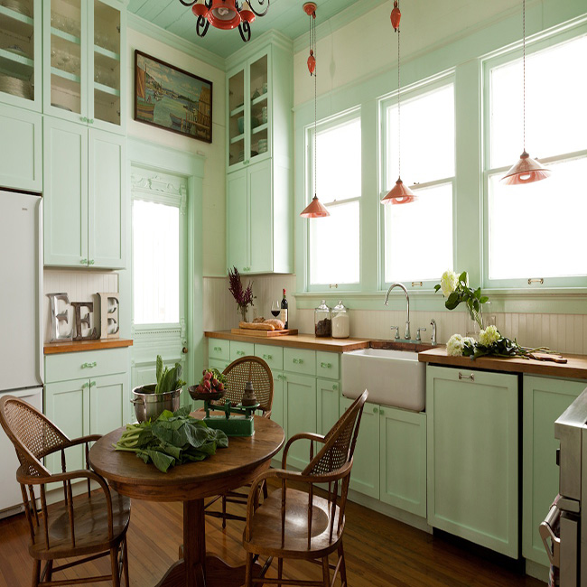 Light Blue-Green Kitchen Cabinets